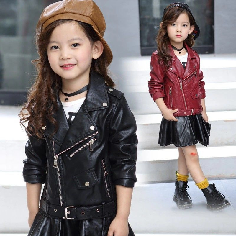 Fashion Child Girls PU Leather Jacket Baby 2 Color Coat Kids Spring Autumn Long Sleeve Casual Zipper Clothing Outwear For 4-13Y