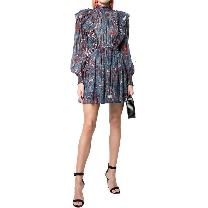 Long Sleeve Layers of Frills Blue Floral Print Ruffle Dress Mini Women Dress