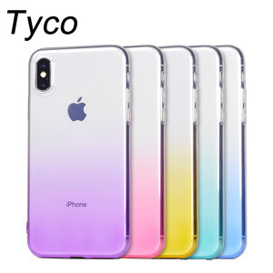 Cell phone shell soft TPU transparent case for iphone X ombre color