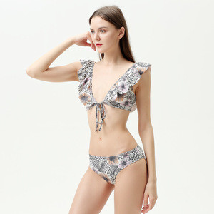 Cheap Animal Print One Piece Swimsuit Hot Sale Halter Printed Swimsuit