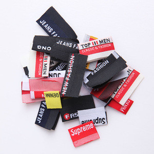 Cheap price centre fold woven label black 100% clothing professional manufacturer