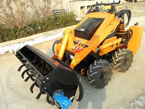China powerful Mini Loader with Rotary Plow for narrow working environment