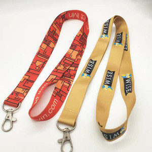 Customized design woven lanyard Metal buckle dailylife  heat transfer printing  polyester lanyard factory direct sale