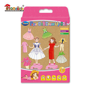 DIY gift painting paper dolls, drawing paper doll dress up set for kids