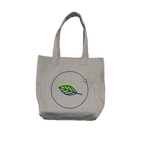 Eco-friendly Customized  Cotton  Hemp Cross Weaving Fabric Canvas Tote Bag