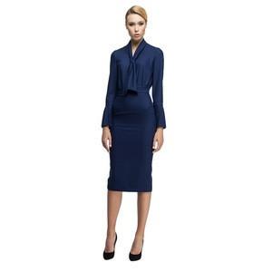 Elegant Bow Tie Long Sleeves Below knee Length Skirt Wholesale Ladies Fashion Office Dresses