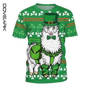 Euro St. Patricks Day Festival Style Four Leaf Clover Round-Neck T-shirt