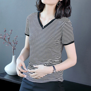 High Quality Womens t-shirts, Customize Oversized Large Short Sleeve Woman Striped T Shirt