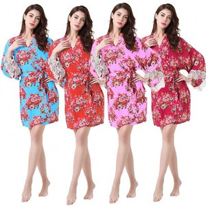 Long Style Cotton Floral Wedding Dress Robe Pajama