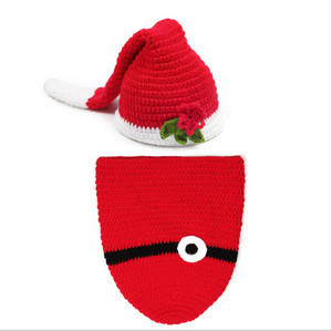 Lovely Newborn Baby Girl/Boy Crochet Knitted christmas Hat Sets/Xmas Santa Costume Photo Photography Prop Christmas Outfit