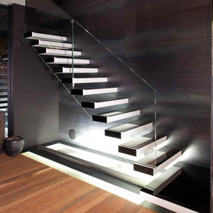 Modern style stringer hidden residential steel stairs wooden tread stair design floating staircase