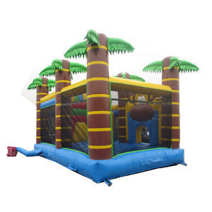 Monkey coconut palm trees playground slide inflatable combo bouncers for kids