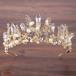 T-43 Bride Accessories Headband Hair Jewelry Gold Princess Wedding Tiaras Baroque Pearl Crystal Tiara
