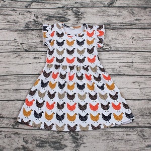 Wholesale boutique girl kids chicken printed party girl dress for baby dress