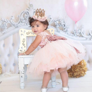 Wholesale Fashion Girls Party Dresses Children Cute Pure Color Princess formal Dress Baby Dress Girls with Bow tie
