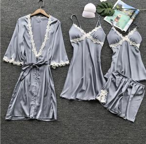 Wholesales Satin Pajamas Set With Bathrobes 4pcs Pajamas Set Night Wear -  Robe & & Shorts&slip Dress Pajamas | Wholesales Satin Pajamas Set With  Bathrobes 4pcs Pajamas Set Night Wear - Robe