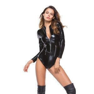 Zipper latex catsuit cheap latex catsuit xxxl pvc latex catsuit women sexy