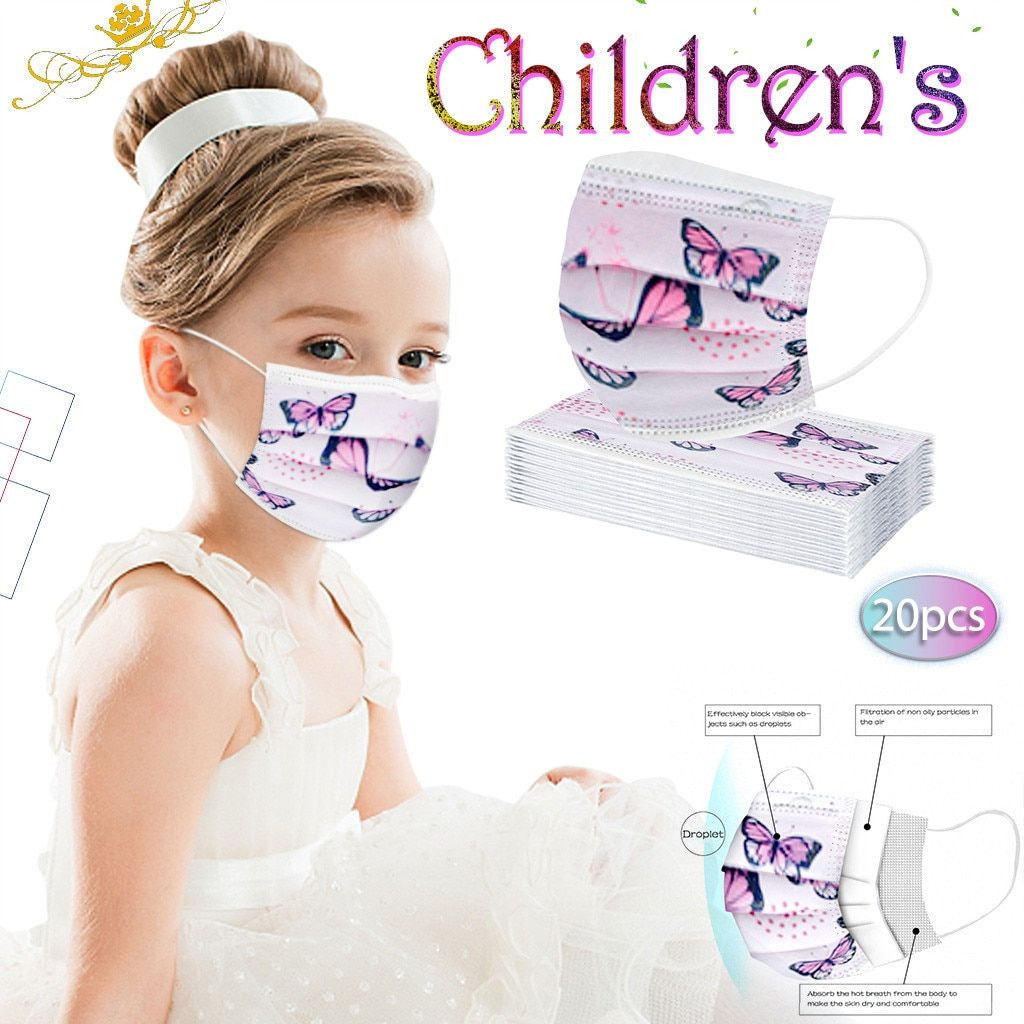 Children desposable face masks can be with logo or customized pattern