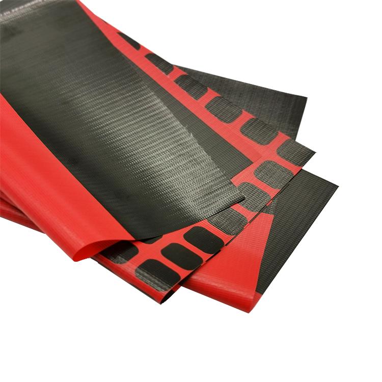 Red black stripe color pvc tarpaulin