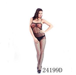 Black Crotchless Full Body Fishnet Bodystocking Sexy Open Crotch Lingerie