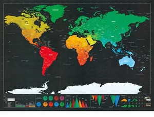 Brand-new 250 Grams coated paper scratch off world map for travellers or family