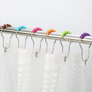 Colorful Acrylic  Beaded Stainless Steel Shower Curtain Hooks Rings