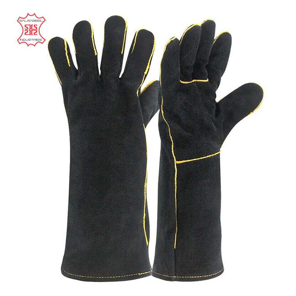 Cow Leather Welding Gloves / Industry Protective Working Safety Gloves