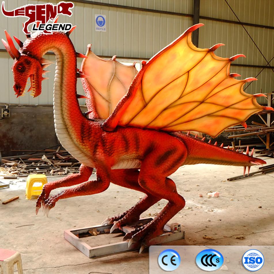 Display life size model animatronic flying dinosaur