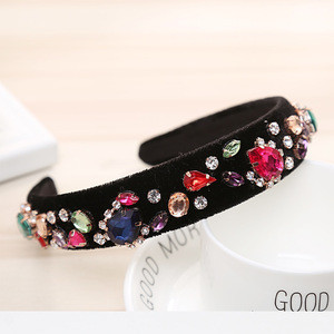 Floral Rhinestone Headband Wedding Hair Accessories Pearl Crystal Hairband for Girls Barlot Style Headwear