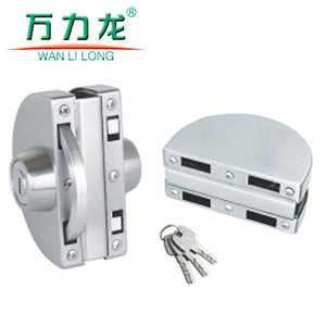 Frameless stainless steel semicircle sliding glass door lock with computer/laser key