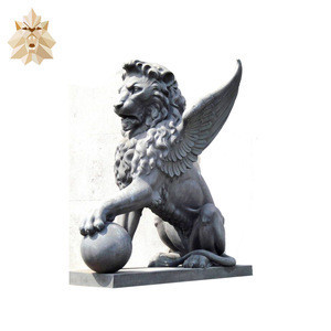 Garden Decoration Stone Animal Sculpture Hand Carved Outdoor Stone Wings Lion Statue For Sale NTBM-L374A
