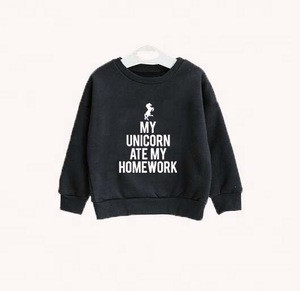 High quality cotton black kids sweatshirt boys clothing cool unicorn printing custom print sweatshirts drop shoulder hoodies