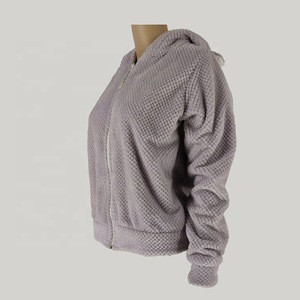 Honeycomb fleece zippered hoodie sherpalining winter lady homewear pajama sleepwear