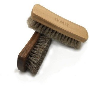 Horse hair shoe brush 6X2 inches natural bristles 100% handmade shoe buffing brush with wooden handle