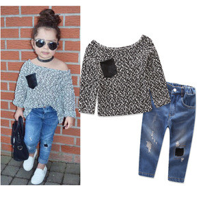 Kids Clothes Clothing Autumn New Set Girls Stylish Ripped Jeans and Top Sweater 2-7T