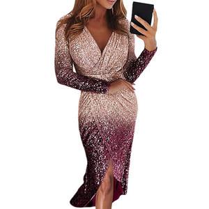 Long Sleeve Sequined Dress Cross Deep V Neck Women Dresses Sexy Club Wear