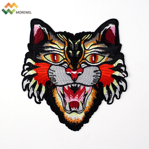 New design embroidered patch machine made tiger patch cloth back