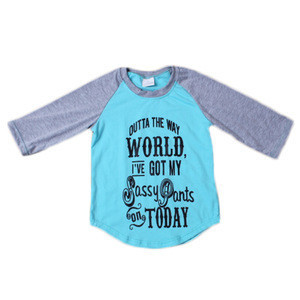 New Style Girls gray with blue vinyl print words designs raglan T-shirts online shopping hong kong