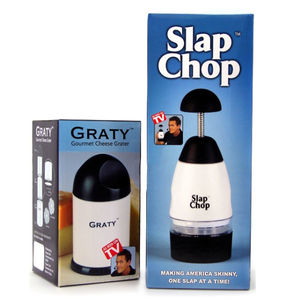 Original Slap Chop Slicer with Bonus Cheese Graty - Stainless Steel Blades - Vegetable Chopper Gadget - Mini Chopper for Salads