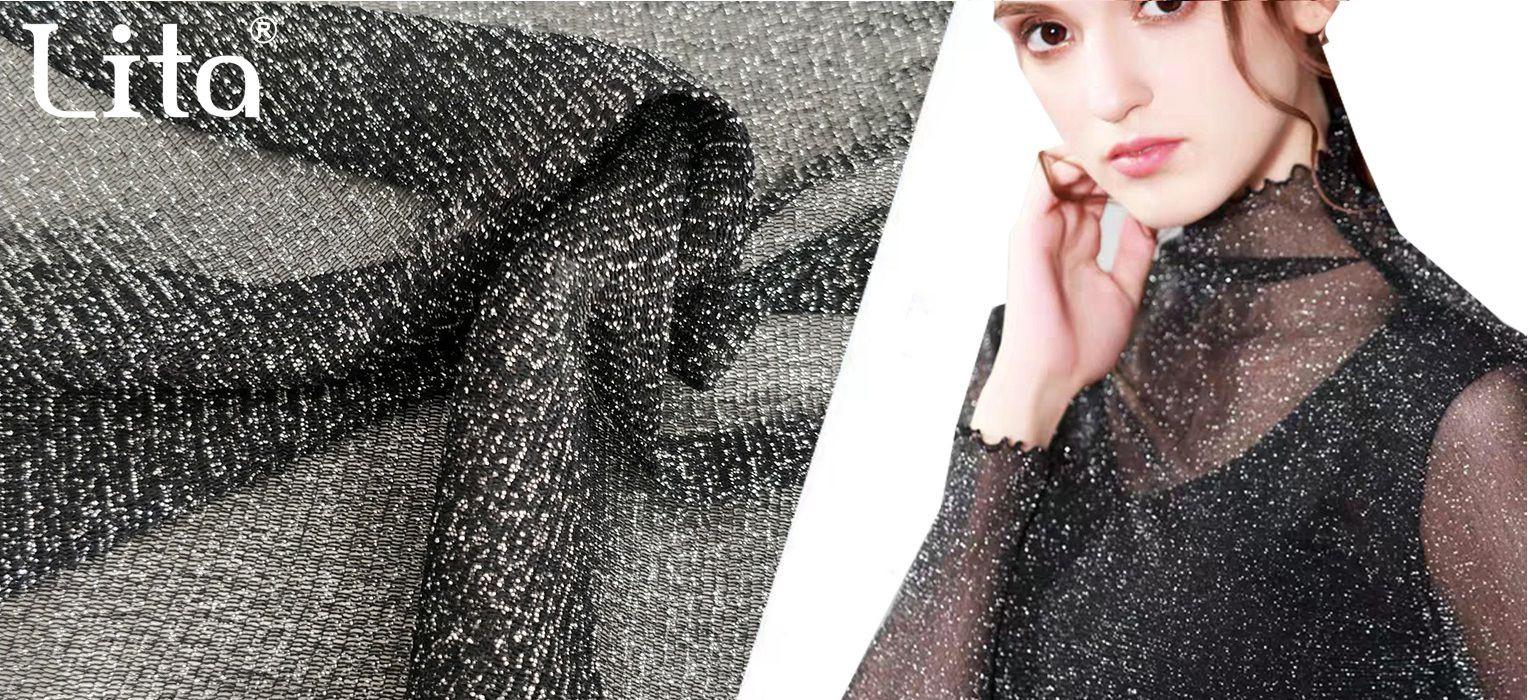 Lita J002240# 100% nylon stretch mesh fabric with silver glitter yarn good quality shinning net fabric elastic tulle