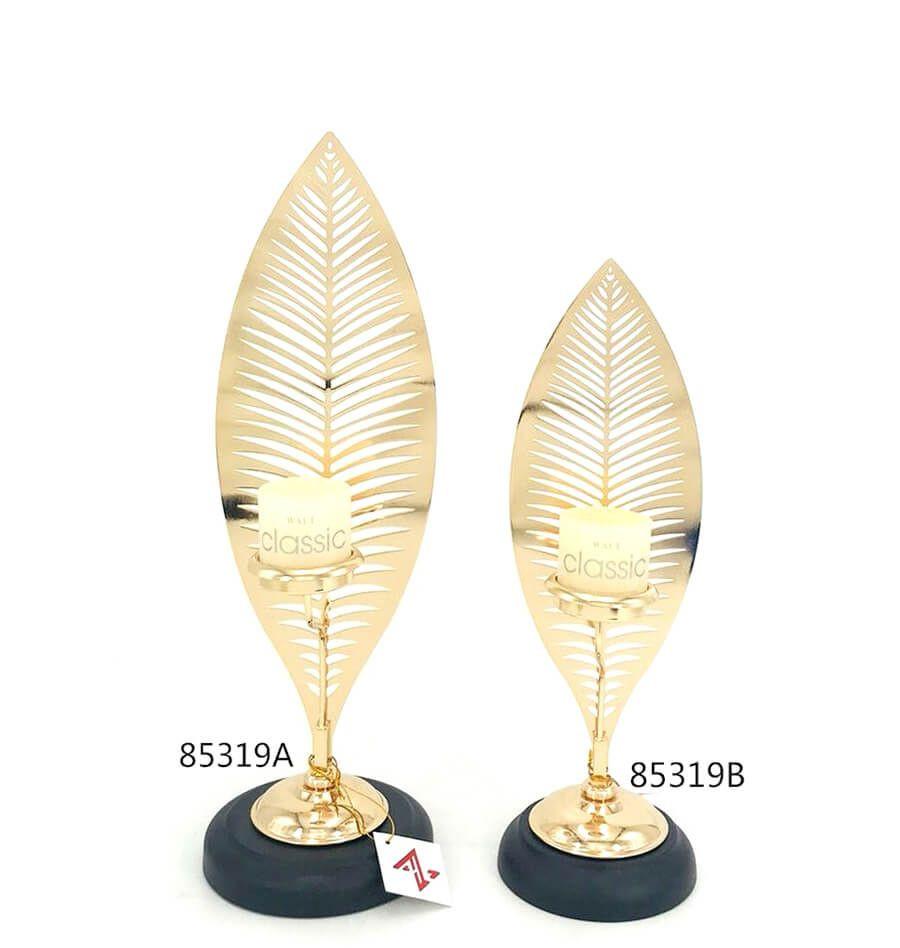 Hot sale metal leaf shape candle holder for home decoration