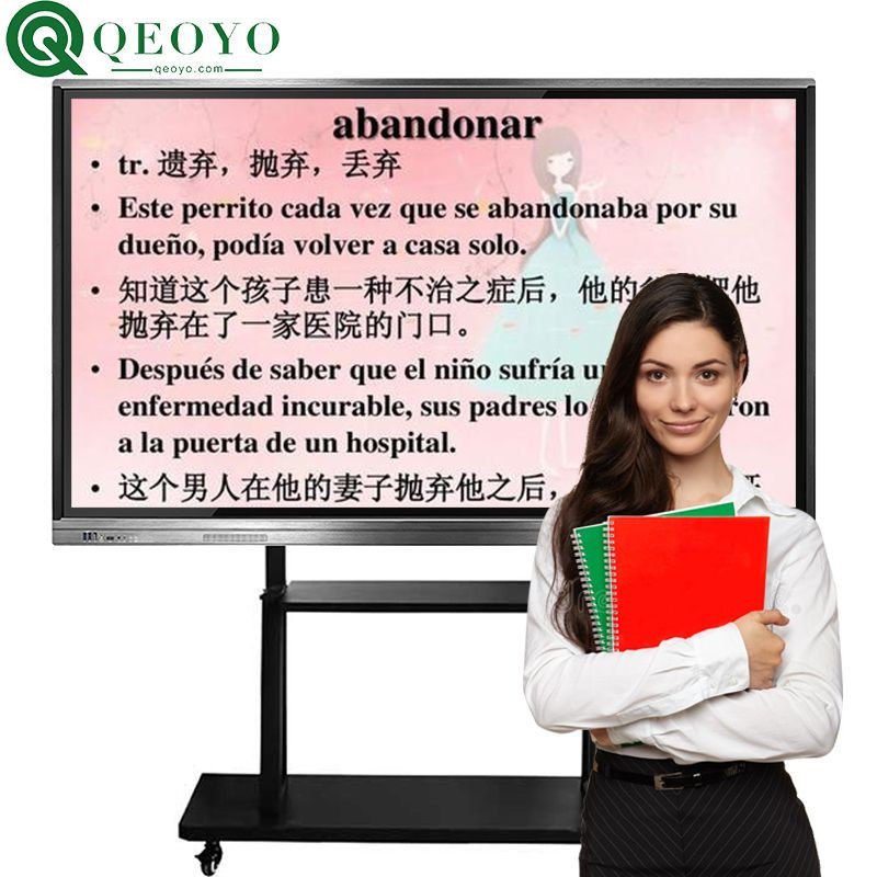 """Qeoyo 55""""65""""70""""75""""80""""82""""86""""100"""" touch screen interactive panel whiteboard touch screen whiteboard all in one for classroom solution"""