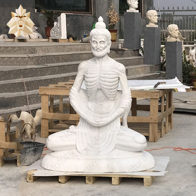 Factory outlet sale stone carving white marble Fasting Buddha statues