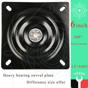 6 inch Iron small swivel plate /6 inch low noise swivel plate chair base/high quality black color barstool swivel plate