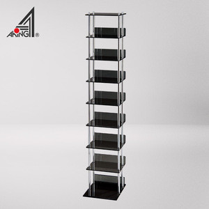 8 Tier Shelf Black Colored Acrylic DVD CD Rack Cabinet For 120pcs