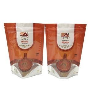 Custom logo food grade plastic food packaging bag with window for chilli powder