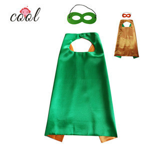 Low MOQ wholesale cheap 4-6 years two colours super hero cape and mask for chid