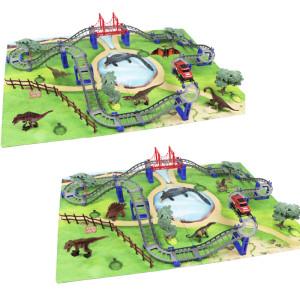 Luxury plastic dinosaur toys for race track dinosaur track car toys with mat