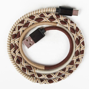 Urizons Handmade Rope USB Charger Cable DATA TYEP-C Cable for Samsung S9 Fasting Charging Mobile Cable Mobile Accessory
