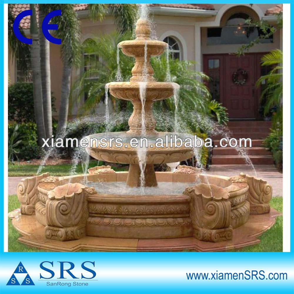 Water fountain Yellow stone outdoor sculpture